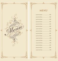 menu for restaurant in retro baroque style vector image