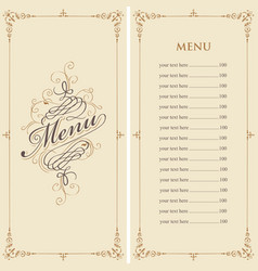 Menu for the restaurant in retro baroque style vector