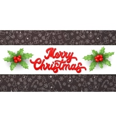 Merry Christmas Red Xmas lettering inscription vector image