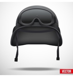 Military black helmet and goggles vector image