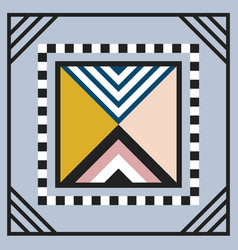 Modern geometry tile triangle emblem frame on gray vector