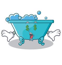 Money eye bathtub character cartoon style vector