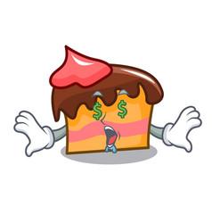Money eye sponge cake mascot cartoon vector