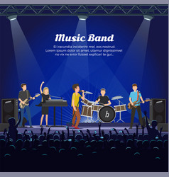 music band concert people playing on instruments vector image