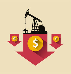 Oil industry concept oil price falling down arrow vector