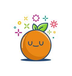 Orange kawaii emoticon cartoon vector
