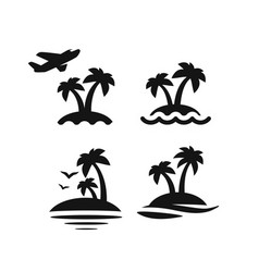 Palm trees icons vector