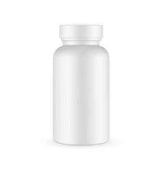 Plastic pills bottle mockup isolated vector