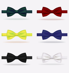 realistic 3d detailed bow tie set vector image