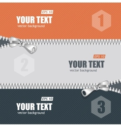 Realistic zippers banner 1 2 3 concept vector