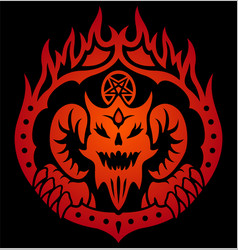 red symbol with devil in fire circle vector image