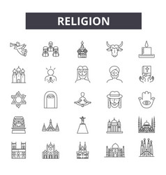 religion line icons signs set linear vector image
