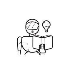 robot reading a book hand drawn outline doodle vector image