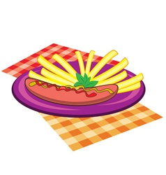 sausage and chips plate vector image