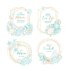 Seashell and marine algae cosmetics package labels vector