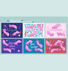 Set cute cards with axolotl with funny vector