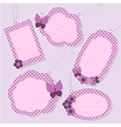 Set of cute purple tags vector image
