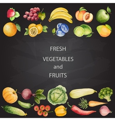 Set of watercolor vegetables and fruits vector image
