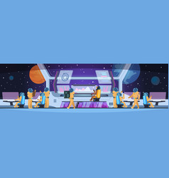 Spaceship futuristic interior spacecraft captain vector