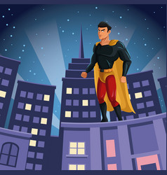 superhero watching over building city night view vector image