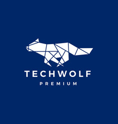 tech wolf polygonal logo icon vector image