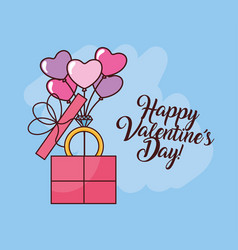 Valentines day celebration with balloons helium vector