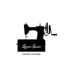 Vintage sewing machine logo vector