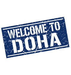 Welcome to doha stamp vector