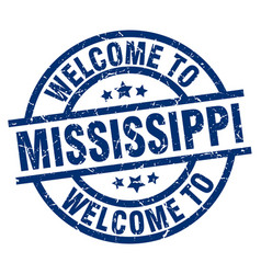 welcome to mississippi blue stamp vector image