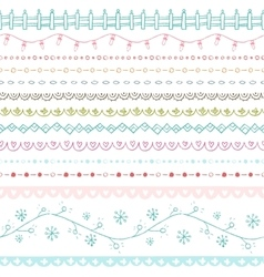 Winter hand drawn seamless borders collection vector