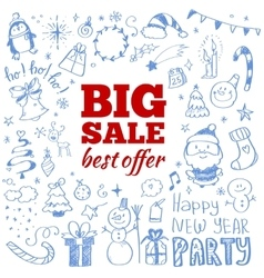 Winter sale poster with Christmas doodles vector