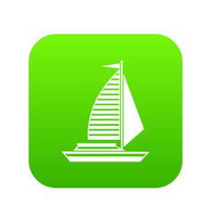 Yacht with sails icon digital green vector