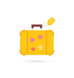 Yellow cartoon travel suitcase with label vector