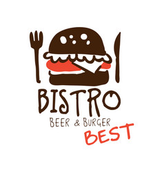 bistro beer and burger logo template hand drawn vector image