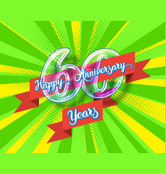 happy 60th anniversary glass bulb numbers set vector image vector image