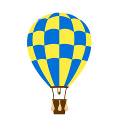 hot air balloon in blue and yellow design vector image vector image