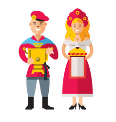russian people flat style colorful cartoon vector image