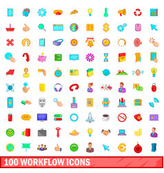 100 workflow icons set cartoon style vector image