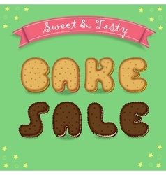 Bake sale Inscription by cookies font vector image