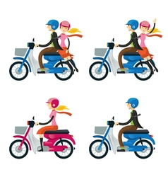 Couple Man Woman Riding Motorcycle vector image vector image