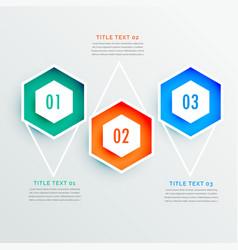 elegant hexagonal shape three steps infographic vector image vector image