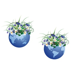 globe and flowers vector image