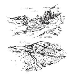 Hand Drawn Farm Landscape vector image vector image