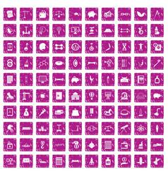 100 balance icons set grunge pink vector