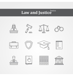 black Law and justice icons vector image