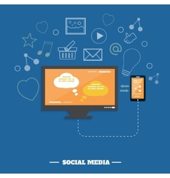 Business software and social media networking vector image vector image