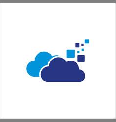 cloud digital data logo vector image