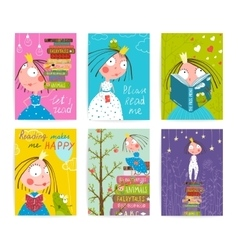 Cute Little Princess Kids Reading Fairy Tale Books vector image vector image
