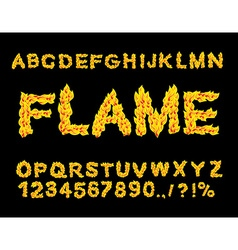 Flame Alphabet Fire font Fiery letters Burning ABC vector image vector image