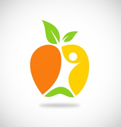 fresh fruit people abstract logo vector image